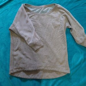 Grey quarter sleeve A&F sweater w/ sheer back