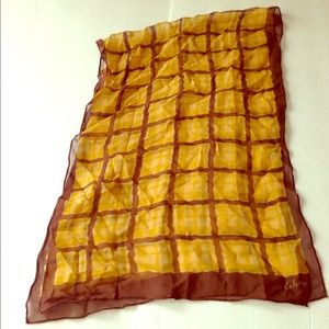 Vintage Accessories - VINTAGE Echo brown and gold silk scarf