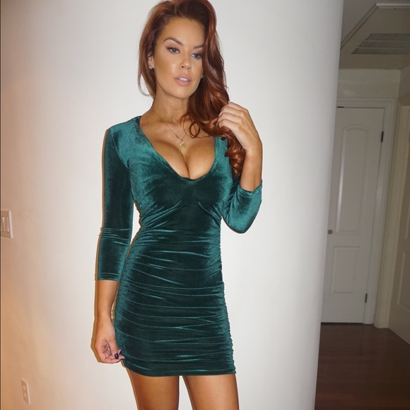 4b6021a6434 Dresses   Free Gift Included Velvet Green Sexy Dress Chic   Poshmark