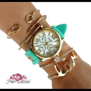 Jewelry - Mint Love Watch Gold Arm Candy Set