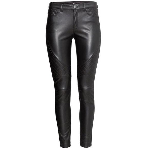 🆕H&M Biker Chic Faux Leather Pants Quilted Sz 12