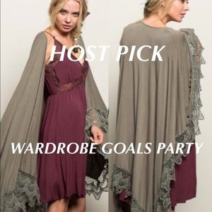 Three Bird Nest Accessories - Nomad Stonewashed Lace Hem Wrap LAST ONE