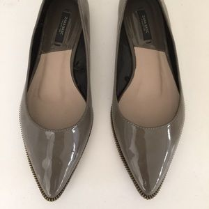 Zara basics pointed gray flats