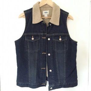 Old Navy Sherpa lined denim vest
