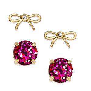 Kate Spade Pink Glitter & Bow Earrings Set