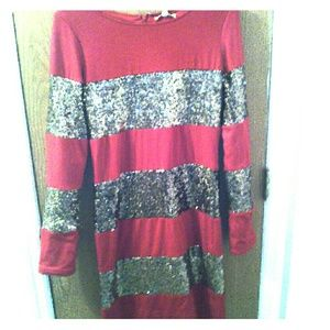 Gianni Bini Red And Gold Sequence Dress