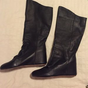 80%20 black leather boots women's size 8