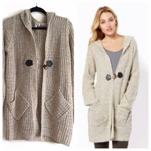 Beige Toggle-Tie Knit Sweater