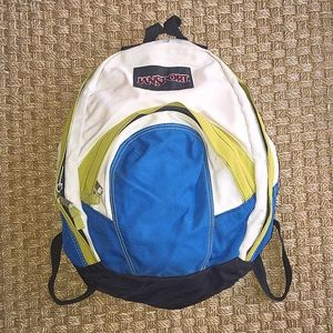 Jansport Handbags - Jansport White Blue Green Backpack Two Pocket