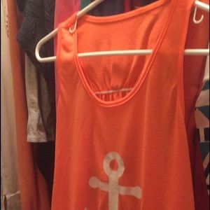 Tops - Orange sailor bow back tee