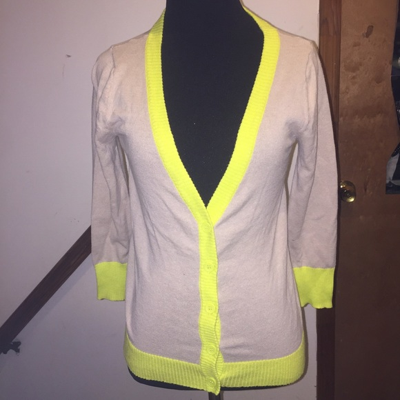 68% off Xhilaration Sweaters - Tan and Neon Yellow Cardigan from ...