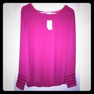 Pleione Tops - Pink long sleeved chiffon tunic.