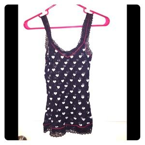 DKNY sheer black tank top with white hearts.