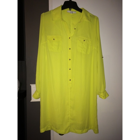 Forever 21 - Forever 21 neon green button down shirt dress from ...