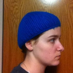 Blue, knitted cap