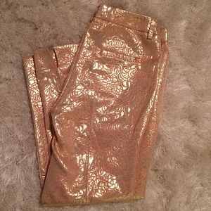 H&M peach gold brocade floral ankle pants size 8