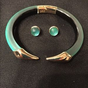Alexis Bittar bracelet and earrings. Green.