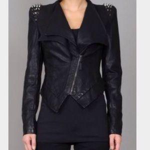 Leather studded shoulder blazer
