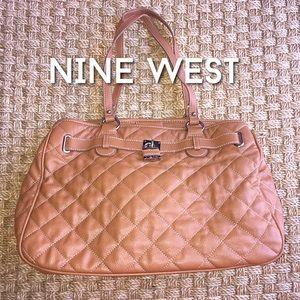Nine West Handbags - Nine West Cognac Brown Quilted Purse With Lock