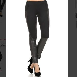 Three Bird Nest Pants - Black leggings with vegan leather