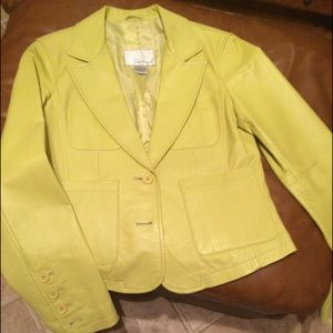 Lime green leather jacket!