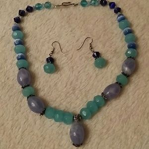 Jewelry - ALL BLUES MATCHING NECKLACE & EARRINGS SET