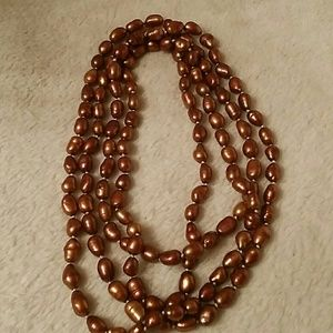Jewelry - LONG BROWN PEARL FAUX NECKLACE