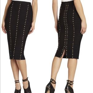 Black Herve Leger Sia studded bandage skirt