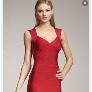 Herve Leger lipstick red Sarai dress