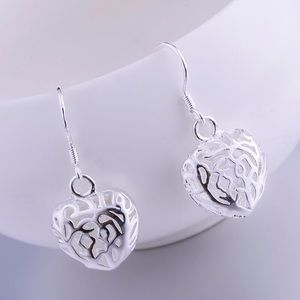 Jewelry - Hollow heart silver earrings