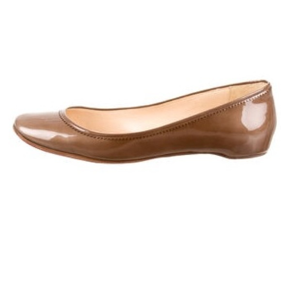 christian louboutin brown patent leather ballet flats