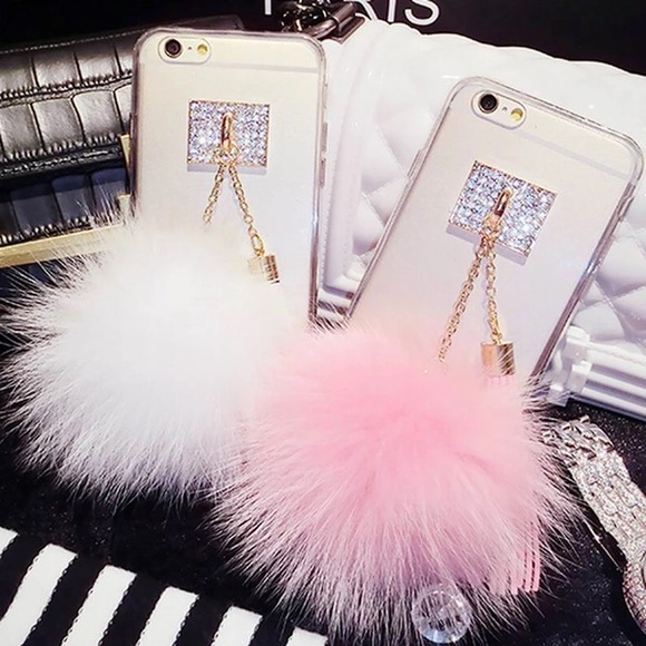 reputable site afa51 8c381 Accessories | I Phone Mirror Phone Case With Faux Fur Ball | Poshmark