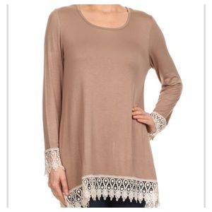 Tops - New - Tan Long Sleeve Tunic Top plus size