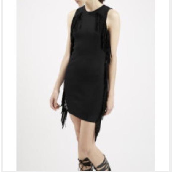 Topshop Dresses Black Fringe Dress Poshmark
