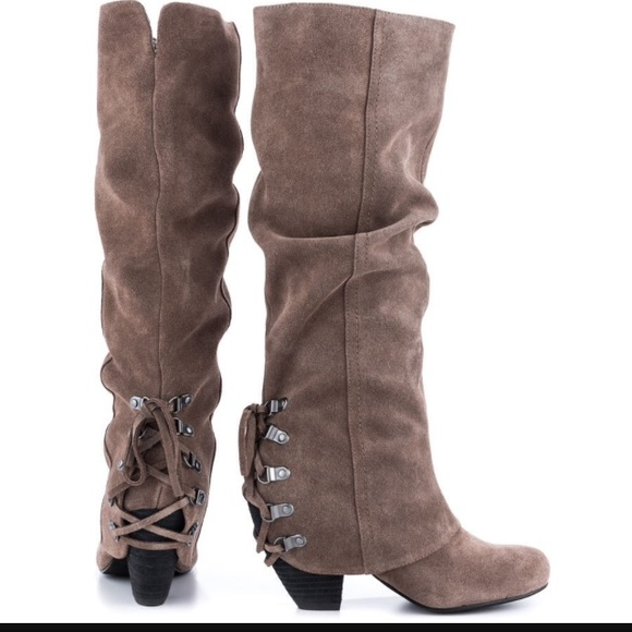 monkey monkey taupe suede boots sold