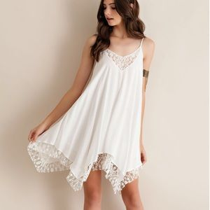 """Notice"" Lace Hem Strappy Dress"