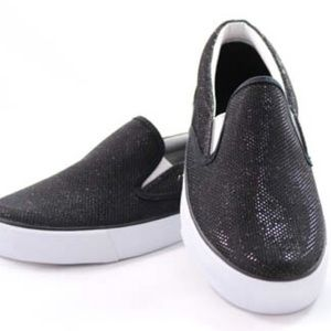 Misbehave Shoes - Black Glitter Flat Sneakers