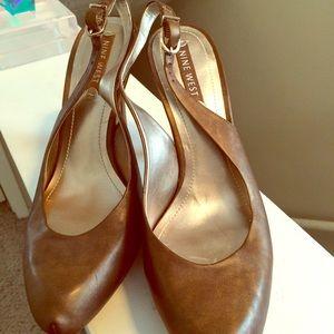 Nine West Shoes - Copper leather sling backs. New, never worn.