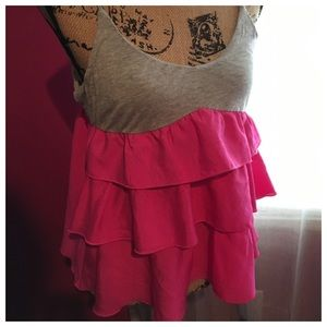 Forever 21 Rory Beca Gray & Pink Large Top
