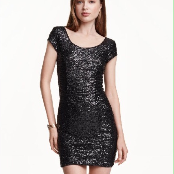 5888a3b87 H&M Dresses   Hm Divided Black Sequin Bodycon Dress   Poshmark