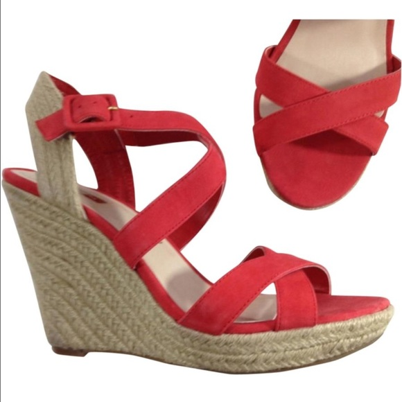 7caa37e24d3 NEW JESSICA SIMPSON coral espadrille wedge sandals