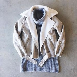 Gray Taupe Fur Lined Bomber Moto Jacket