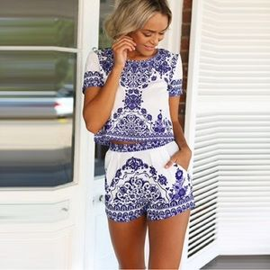 Ella Clothing Tops - Porcelain Blue and White Print Set