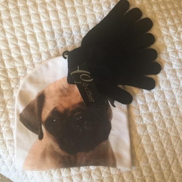 Pug life. Beanie and glove set 9081fecbe10