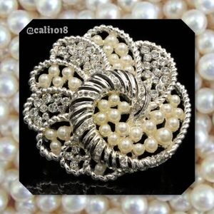 Boutique Jewelry - New One of a Kind Faux Pearl Gorgeous Brooch 2 1/4