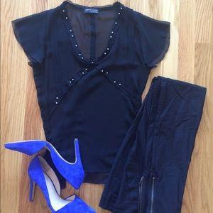 Black Sheer Zara Top With Pearl Detail