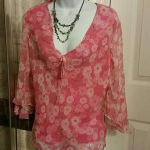 Anne Carson Tops - Anne Carson Floral pink ladies blouse#9