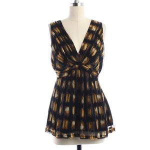 BCBGMAXAZRIA Black/Yellow Sleeveless Blouse