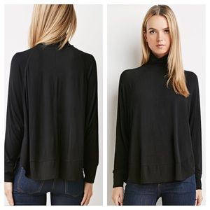 Black Knit Turtleneck Top