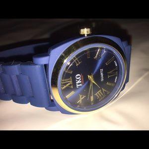 TKO Accessories - TKO women's silicone rubber blue gold watch new